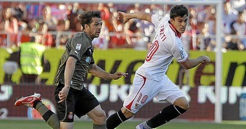 Perotti en el partido contra el Espanyol de la pasada jornada.