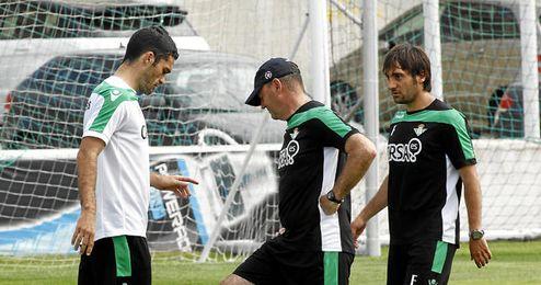 Mel junto a Jorge Molina en un entrenamiento.