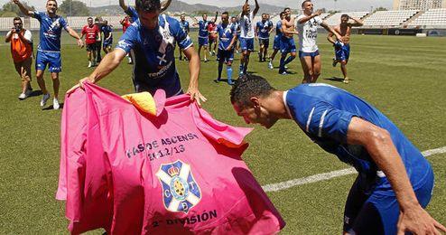 Los jugadores del Tenerife celebran el ascenso sobre el c�sped del Feixa Llarga.