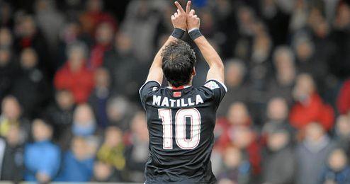 Matilla celebra uno de los once goles que ha conseguido este año con el Murcia.