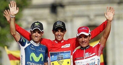 Valverde, Contador y ´Purito´, podio de la Vuelva a España 2012.