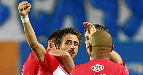 Nico Pareja celebra un tanto con la camiseta del Spartak de Moscú.