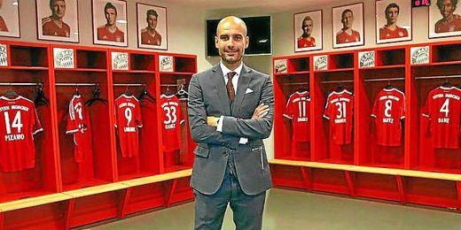Guardiola en el vestuario de su nuevo equipo.