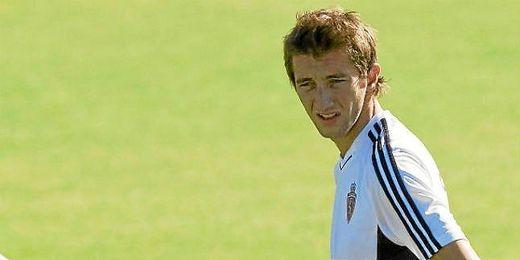 Kevin Lacruz en un entrenamiento con el Zaragoza.