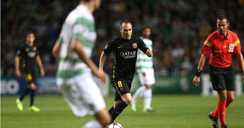 Iniesta cuajó un buen partido ante el Celtic.