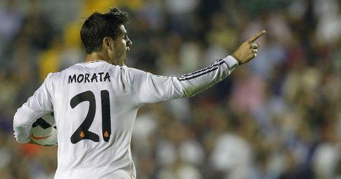 Morata celebra el gol del empate ante el Levante del pasado sábado.