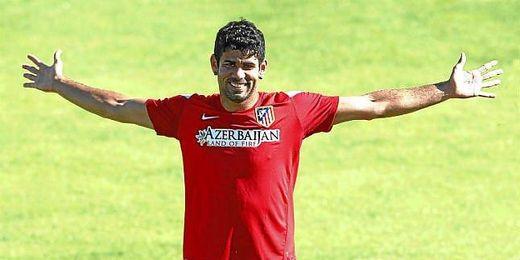 Diego Costa durante un entrenamiento con el Atlético.