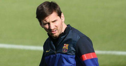 Leo Messi durante un entrenamiento.