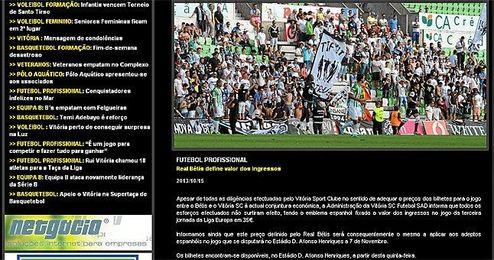 En la imagen, la nota de prensa emitida por el Vitoria en su página web.