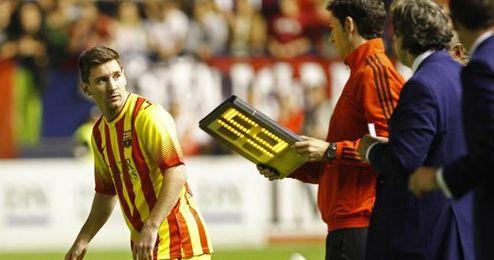 Leo Messi regreso tras su lesión en El Sadar.