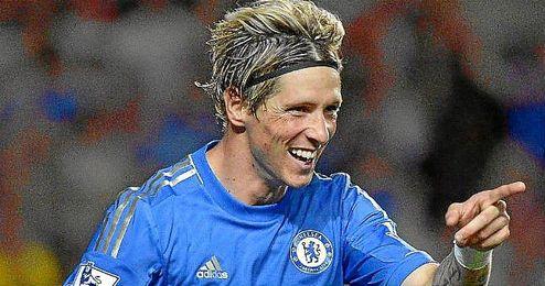 Fernando Torres celebra un gol con el Chelsea.