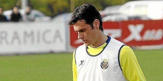 Chechu Dorado, durante un entrenamiento con el Villarreal.