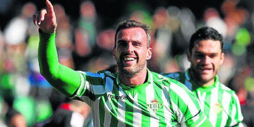 Amaya marcó el primer gol de los verdiblancos contra el Rayo Vallecano.