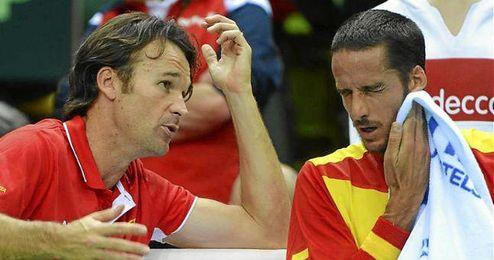 Carlos Moyá con Feliciano López.