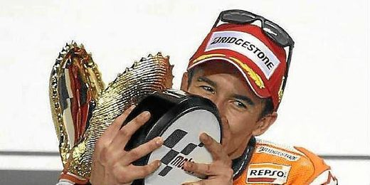 Marquez celebrando la victoria en la útlima carrera