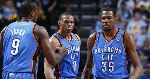 En la imagen, el ´big three´ de los Thunder, Durant, Ibaka, y Westbrook.