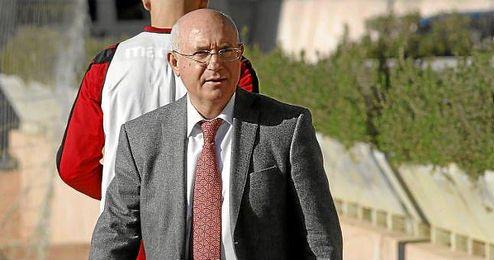 Serra Ferrer, en un entrenamiento del Mallorca.