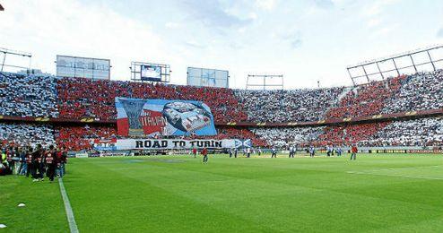 Aspecto del estadio nervionense antes del comienzo del partido ante el Valencia.