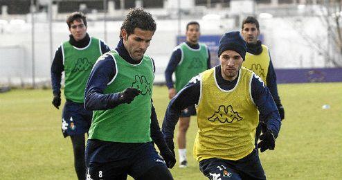 Baraja, en un entrenamiento con el Valladolid.