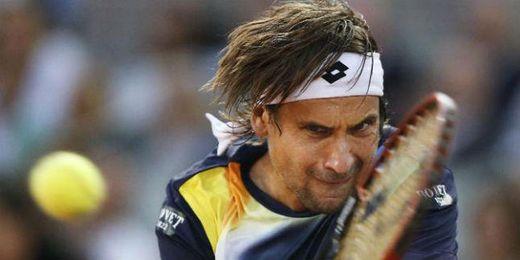 Ferrer golpeando la bola durante el Master 1000 de Roma