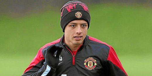 `Chicharito´ Hernández durante un entrenamiento del Manchester United.