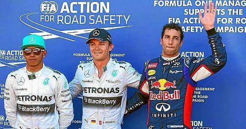Hamilton, Rosberg y Ricciardo saldrán segundo, primero y tercero respectivamente.