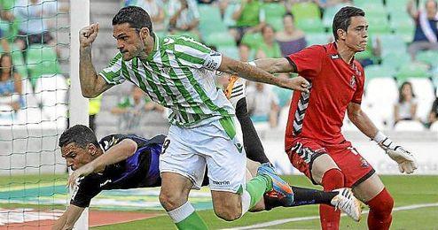 Jorge Molina celebra su último gol del presente curso, ante el Valladolid.