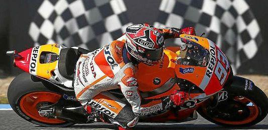 Marquez en su moto durante el último GP de Francia