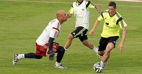 Fernando Torres durante el entrenamiento de la selección española en las Rozas.