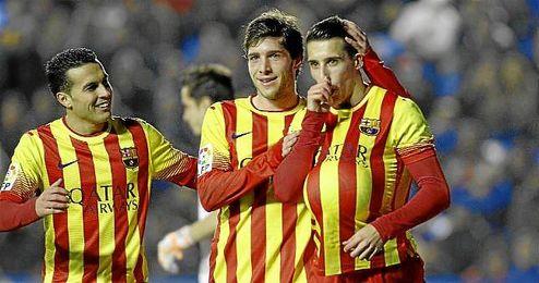 Tello celebra un gol en el partido ante el Levante.