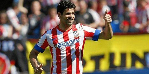 Diego Costa celebra uno de los tantos logrados con el At. Madrid
