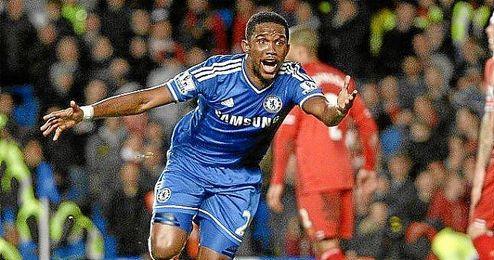El delantero camerunés Samuel Eto´o, durante una celebración en un partido con el Chelsea esta temporada