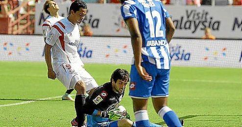 Lux en el partido que enfrentó al Depor con el Sevilla el pasado domingo.