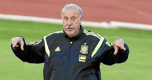 Vicente del Bosque durante un entrenamiento como seleccionador de España.