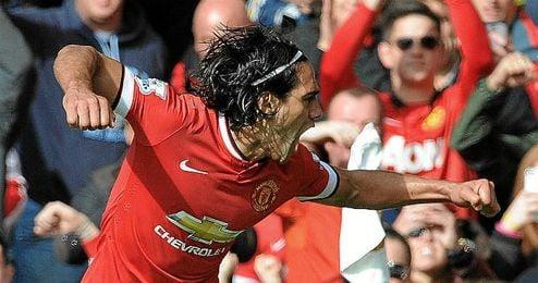 Falcao celebrando su único gol en la Premier League