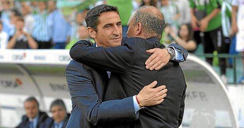 Jiménez y Mel se saludan en un Zaragoza-Betis.