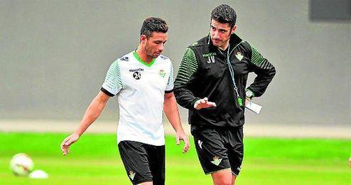 Castro y Velázquez durante un entrenamiento.