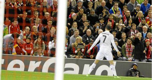 Ronaldo tras su gol ante el Liverpool