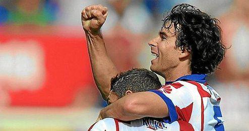 Tiago celebra un gol la pasada temporada