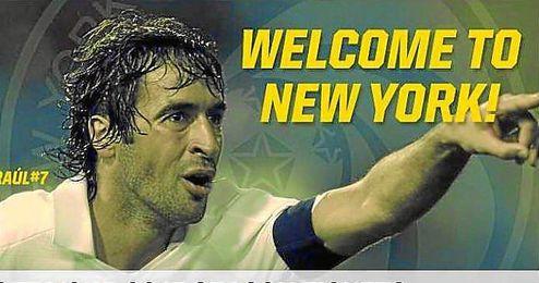 Así anuncia la web del Cosmos la llegada de Raúl.