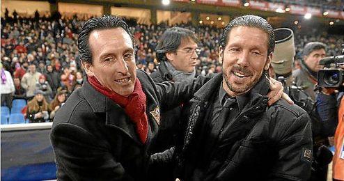Emery y Simeone, en el Atlético-Sevilla de la temporada pasada.