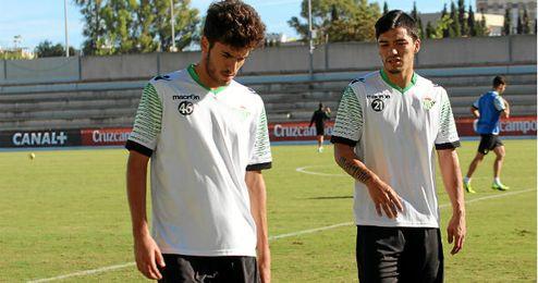 Dani Ceballos y Lolo Reyes en un entrenamiento