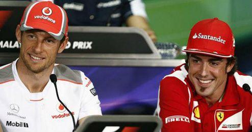 Jenson Button y Fernando Alonso juntos en 2012