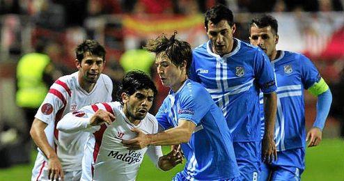 Lance del Sevilla 1-0 Rijeka que ha dado el pase a los hispalenses.