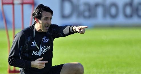 Emery durante un entrenamiento con el Sevilla.