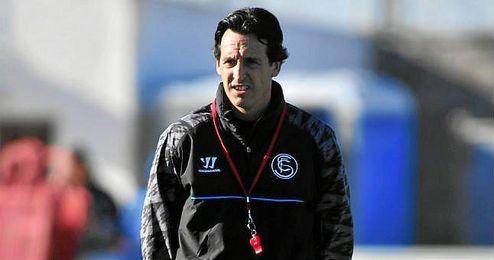 Unai Emery durante un entrenamiento como técnico sevillista.