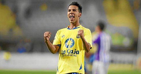 Jonathan Viera, celebra un gol durante su etapa en Las Palmas.