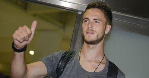 Van Wolfswinkel, a su llegada a Sevilla.
