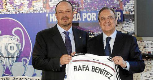 Florentino Pérez y Rafa Benítez durante la presentación de este último.