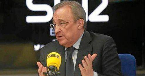 Florentino P�rez, anoche durante la entrevista en 'El Larguero'.